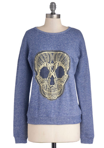Craft Night Brainstorm Sweatshirt - Blue, Gold, Embroidery, Skulls, Sweatshirt, Long Sleeve, Better, Scoop, Halloween, Mid-length, Knit, Blue, Long Sleeve, Novelty Print