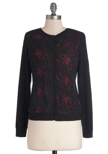 While Away the Hours Cardigan - Black, Red, Lace, Long Sleeve, Better, Mid-length, Knit, Buttons, Work, Crew, Black, Long Sleeve, Holiday Party