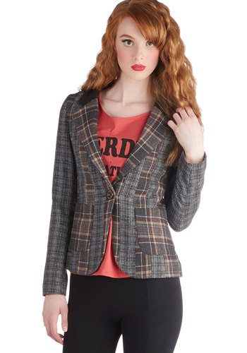 An Edge Above the Class Blazer - Mid-length, 1, Grey, Plaid, Buttons, Pockets, Work, Menswear Inspired, Scholastic/Collegiate, Long Sleeve, Good, Fall, Multi
