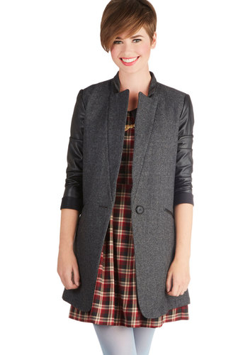 London Bridge Coat - Long, Faux Leather, Woven, Grey, Herringbone, Buttons, Long Sleeve, Good, 2, Pockets, Menswear Inspired, Grey