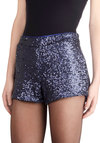 Sequined Admirer Shorts - Blue, Solid, Sequins, Holiday Party, Good, Luxe, Girls Night Out, Vintage Inspired, 70s, 80s