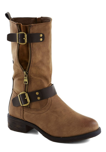 Spellbound and Determined Boot - Tan, Brown, Buckles, Safari, Low, Good, Faux Leather, Solid, Exposed zipper, Casual