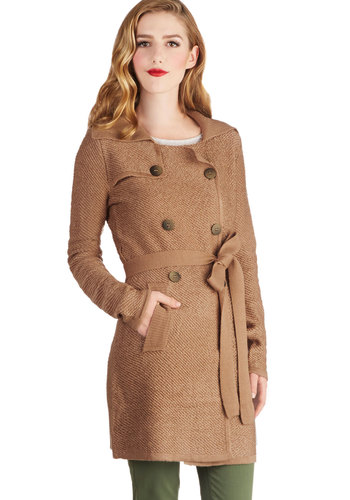 Chorale Booster Cardigan - Knit, Tan, Solid, Buttons, Pockets, Belted, Military, Double Breasted, Long Sleeve, Better, Casual, Brown, Long Sleeve