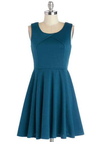 Twirl This Way Dress - Knit, Blue, Solid, Casual, A-line, Sleeveless, Good, Scoop, Mid-length, Spring