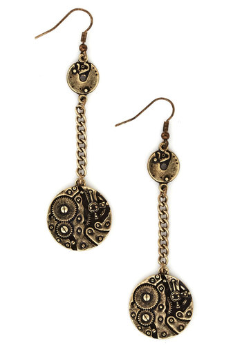 From Gear to Ear Earrings - Solid, Steampunk, Gold