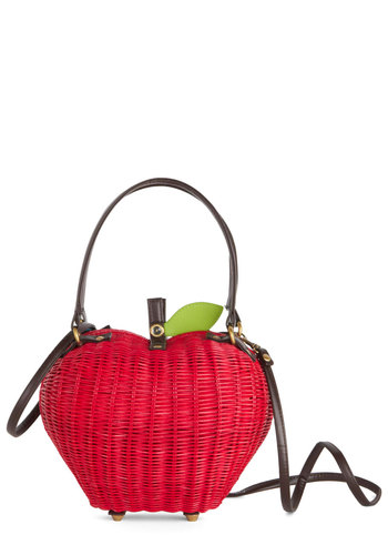 Pome Sweet Home Bag by Ollie & Nic - Red, Green, Black, Solid, Fruits, Better, International Designer, Woven, Quirky, Scholastic/Collegiate