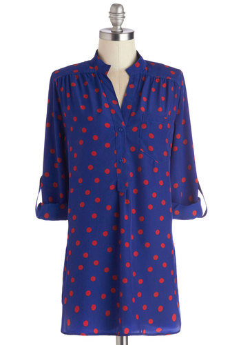 Hosting for the Weekend Tunic in Azure - Long, Woven, Blue, Red, Polka Dots, Buttons, Epaulets, Pockets, Casual, Long Sleeve, Good, Variation, Blue, Tab Sleeve
