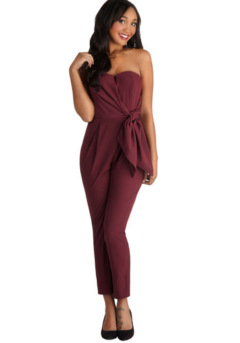 Merlot to Love Jumpsuit - Long, Chiffon, Woven, Red, Solid, Bows, Strapless, Good, Party, Sweetheart