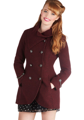 Resort to Style Coat - 3, Red, Buttons, Pockets, Double Breasted, Long Sleeve, Better, Long, Red