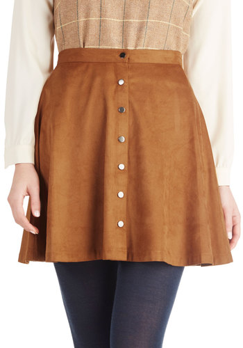 Fawn My Agenda Skirt by Miss Patina - Short, Brown, Solid, Buttons, Vintage Inspired, A-line, International Designer, Better, Casual, 70s, Fall, Faux Leather, Brown