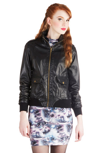 Revvy, Set, Go! Jacket by Jack by BB Dakota - Black, Solid, Buttons, Epaulets, Pockets, Long Sleeve, Faux Leather, Short, 2, Casual, Urban, Fall, Basic, Military, Black
