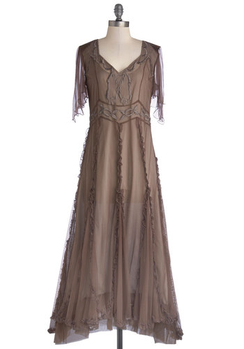 Fall Festival Dress - Brown, Solid, Embroidery, Ruffles, Maxi, Short Sleeves, Best, Chiffon, Sheer, Satin, Knit, Woven, Long, Special Occasion, Boho
