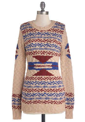Laid-back and Forth Sweater - Cream, Red, Blue, Long Sleeve, Better, Cotton, Knit, Mid-length, Print, Fall, Crew, Multi, Long Sleeve, Holiday