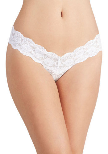 A Lace of One's Own Thong in White - White, Pink, Solid, Bows, Lace, Pastel, Colorblocking, Boudoir, Sheer, Knit, Wedding, Bride, Variation, Lace