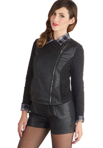 Kelly's Modern Romantic Jacket by Jack by BB Dakota - Faux Leather, Knit, 2, Black, Solid, Lace, Pockets, Urban, Long Sleeve, Black, Short