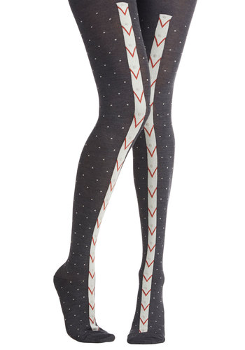 On the Pinball Tights - Red, White, Chevron, Knit, Fall, Winter, Grey, Polka Dots, Casual