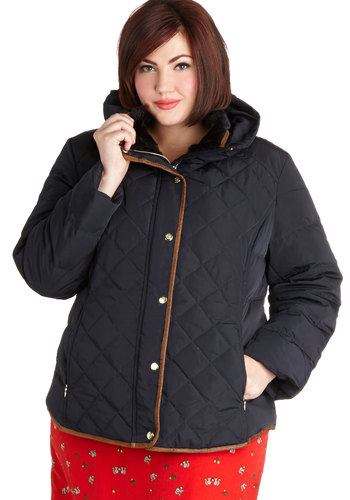 Touch Down in Minnesota Coat in Plus Size - Faux Fur, 5, Blue, Solid, Buttons, Pockets, Quilted, Trim, Casual, Long Sleeve, Winter, Blue, Gifts Sale