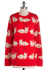 Hop On By Sweater - Red, White, Print with Animals, Casual, Quirky, Long Sleeve, International Designer, Crew, Knit, Mid-length, Red, Long Sleeve