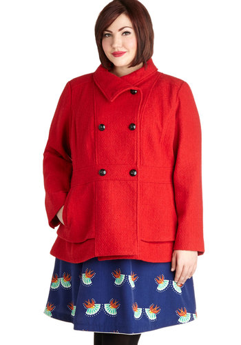 Center City Lights Coat in Plus Size - Woven, 3, Red, Solid, Buttons, Pockets, Tiered, Double Breasted, Long Sleeve, Fall, Winter, Red, Gifts Sale