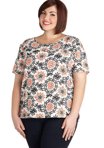 Language of Flowers Top in Plus Size - Woven, Multi, Orange, Black, White, Floral, Exposed zipper, Casual, Short Sleeves, Scoop