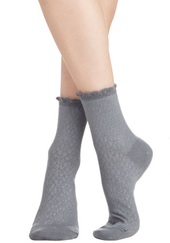 See What I Gleam? Socks in Grey - Knit, Grey, Solid, Scallops, Good, Variation, Basic, Spring