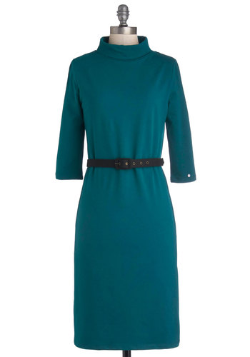 Design and Deliver Dress - Knit, Long, Blue, Solid, Belted, Work, Sheath / Shift, 3/4 Sleeve, Fall