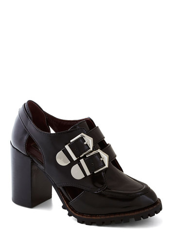 Most Radical Heel - Black, Buckles, Cutout, Vintage Inspired, 90s, Urban, Best, Platform, Chunky heel, Mid, Faux Leather, Solid