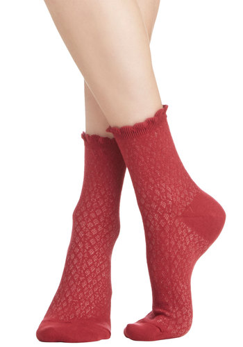See What I Gleam? Socks in Red - Knit, Red, Solid, Scallops, Good, Variation, Basic, Valentine's, Spring