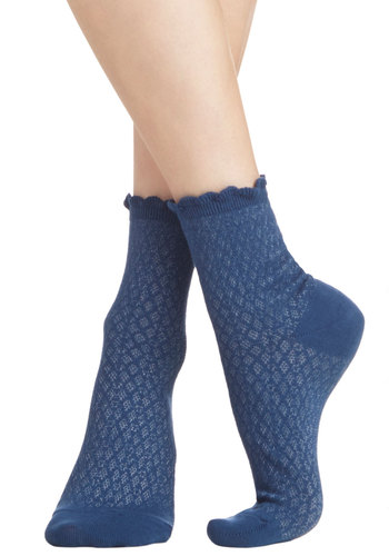 See What I Gleam? Socks in Navy - Knit, Blue, Solid, Scallops, Good, Variation, Basic, Spring