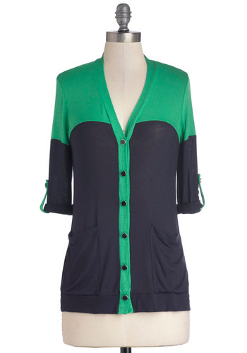 Classy is in Session Cardigan - Jersey, Knit, Mid-length, Blue, Green, Solid, Buttons, Casual, 3/4 Sleeve, V Neck, Pockets, Sheer, Blue, Long Sleeve