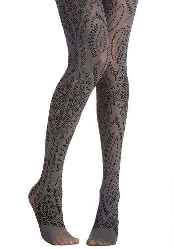 Flocked to See Tights - Sheer, Knit, Print, Fall, Winter, Better, Grey, Black
