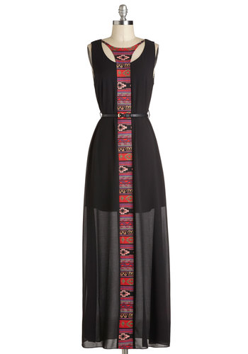 Freethinking Ahead Dress - Black, Red, Purple, Print, Cutout, Casual, Maxi, Tank top (2 thick straps), Good, Long, Woven, Belted, Summer