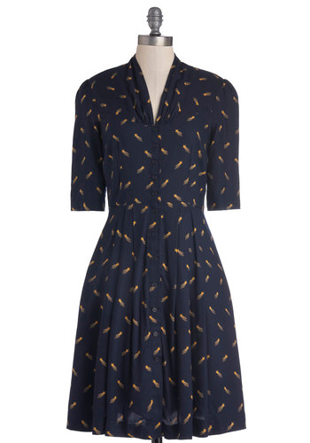 Star Studded Performance Dress in Comets by Emily and Fin - Blue, Yellow, Novelty Print, Buttons, Casual, A-line, Short Sleeves, Better, International Designer, V Neck, Woven, Long