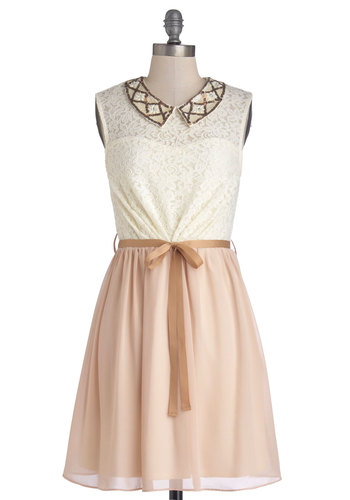 Festive Fusion Dress - Mid-length, Chiffon, Sheer, Knit, Woven, Tan / Cream, White, Lace, Sequins, Belted, A-line, Sleeveless, Better, Collared, Party