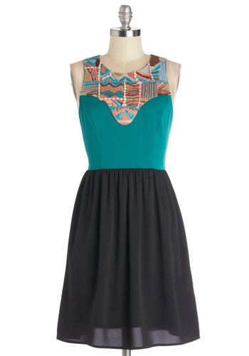 Ticket to Telluride Dress - Blue, Black, Print, Casual, A-line, Sleeveless, Woven, Chiffon, Mid-length, Exposed zipper