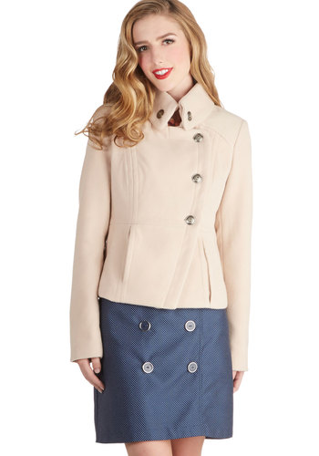 Hello, Colorado Jacket - Short, 2, Cream, Solid, Buttons, Pockets, Military, Long Sleeve, Good, White, Gifts Sale, Winter