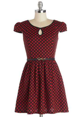 Cute Classmate Dress in Red - Short, Knit, Red, Black, Polka Dots, Belted, Casual, A-line, Cap Sleeves, Variation, Scoop, Valentine's