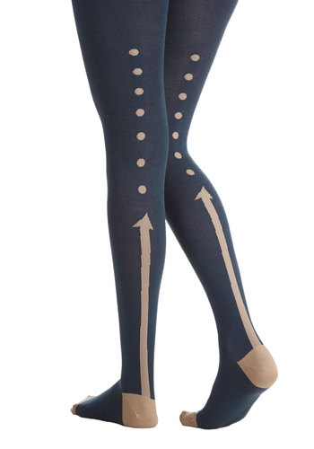 Style This Way Tights - Tan / Cream, Knit, Fall, Winter, Blue, Novelty Print, Quirky