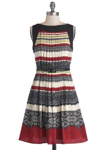 Truth of the Pattern Dress by Darling - Mid-length, Woven, Red, Blue, White, Stripes, Pleats, Belted, Party, A-line, Sleeveless, Better, Boat