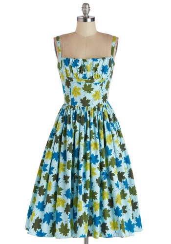 What a Dahlia Dress in Leaves by Bernie Dexter - Blue, Green, Novelty Print, Daytime Party, Quirky, Fit & Flare, Spaghetti Straps, Better, Long, Cotton, Woven, Pockets, Vintage Inspired, 50s