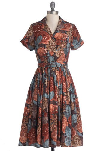 Estate Docent Dress by Myrtlewood - Private Label, Satin, Woven, Brown, Blue, Pink, Floral, Pleats, Belted, Casual, A-line, Short Sleeves, Better, Collared, Buttons, Pockets, Vintage Inspired, 40s, 50s, Long
