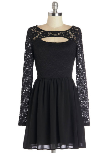 Feeling Pretty in the City Dress - Short, Woven, Black, Solid, Lace, Party, A-line, Long Sleeve, Sheer, Scoop, Halloween, LBD
