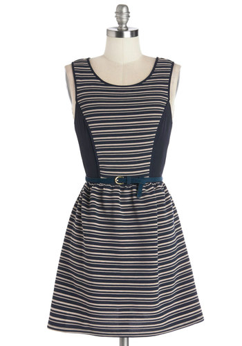 Filled with Charm Dress - Knit, Blue, Tan / Cream, Stripes, Belted, Casual, A-line, Tank top (2 thick straps), Good, Scoop