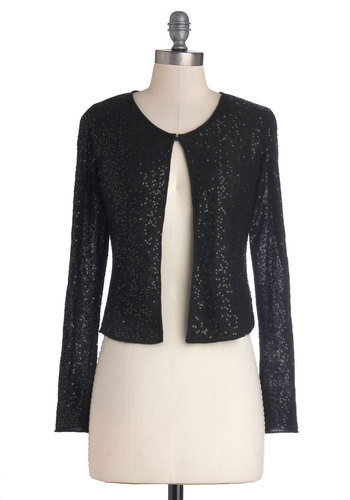 Starlit Starlet Cardigan - Black, Solid, Sequins, Long Sleeve, Better, Short, Knit, Party, Cocktail, Holiday Party, Black, Long Sleeve
