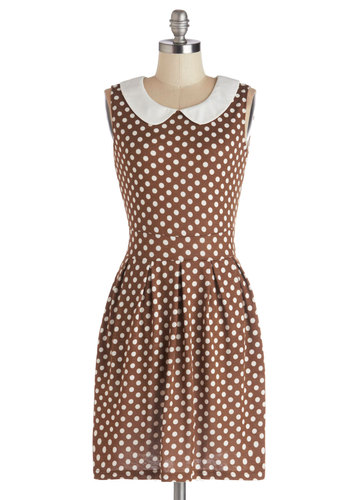 Just a Smidge Dress - Mid-length, Knit, Brown, White, Polka Dots, Peter Pan Collar, Pockets, Casual, Vintage Inspired, Sleeveless, Collared