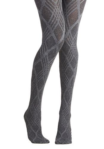 Line and Dine Tights in Charcoal - Grey, Print, Fall, Winter, Better, Sheer, Knit, Variation