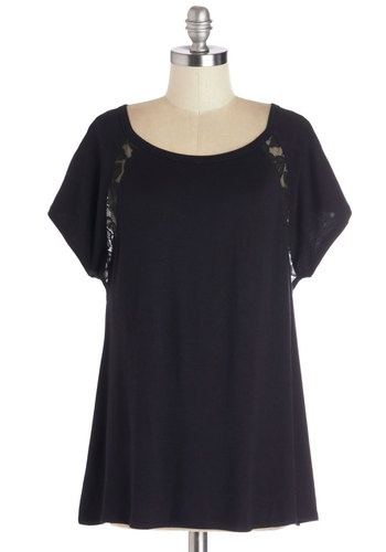 Breakfast in Bed-Stuy Top in Black - Mid-length, Jersey, Knit, Black, Solid, Lace, Boho, Short Sleeves, Good, Scoop, Casual, Variation, Sheer, Best Seller, Black, Short Sleeve
