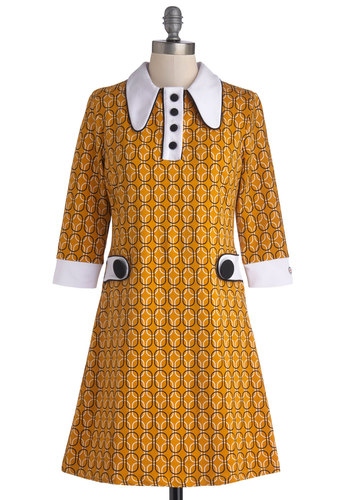 Vinyl Fantasy Dress - Knit, Yellow, Black, White, Print, Buttons, Casual, Mod, Shift, 3/4 Sleeve, Better, International Designer, Collared, Vintage Inspired, 60s, Winter, Short