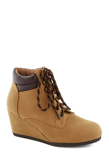 I Think You Know Wyoming Bootie - Mid, Faux Leather, Tan, Brown, Solid, Wedge, Lace Up, Good, Urban