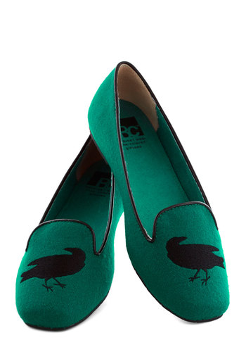 The Perfect Stitch Flat in Blackbird by BC Shoes - Green, Black, Print with Animals, Menswear Inspired, Flat, Better, Halloween, Variation